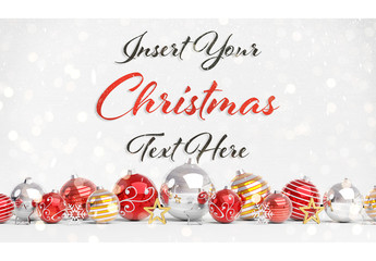 Christmas Card Mockup with Decorations