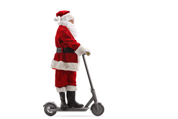 Santa Claus riding an electric scooter