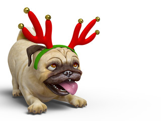 dog pug cartoon with a christmas hat wants to party with a copy space