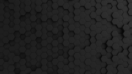 Fotobehang - Hexagonal dark grey background texture, 3d illustration, 3d rendering