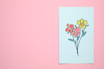Handmade greeting card on pink background, top view with space for text. Happy Mother's Day
