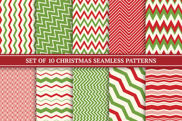 Christmas seamless colorful zigzag patterns. Bright X-mas striped retro backgrounds - vintage style. Endless creative linear textures. Can be used as wrapping paper, covers, wallpaper and etc