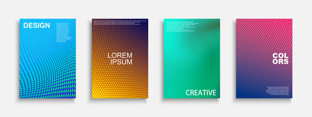 Collection of vector bright abstract contemporary templates, posters, placards, brochures, banners, flyers, backgrounds and etc. Colorful gradient dotted covers - trendy geometric vibrant design