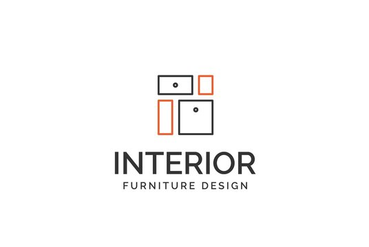 Simple minimalist furniture interior logo design with flat vector graphics