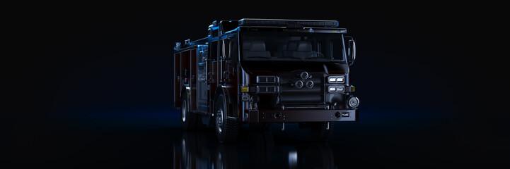 Fire Truck, studio setup, on a dark background. 3d rendering Wall mural