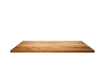 Brown wooden shelves isolated on white background.