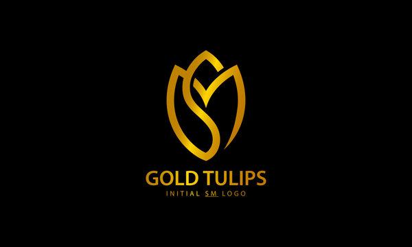 Gold Tulips Letter SM Logo Design