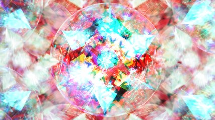 Tuinposter Imagination Abstract Rotating Star in Circle with Blurred Pink and White Shapes - Abstract Background Texture