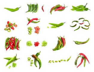 Zelfklevend Fotobehang Hot chili peppers Set with hot chili peppers isolated on white