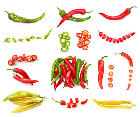 Foto op Canvas Hot chili peppers Set with hot chili peppers isolated on white