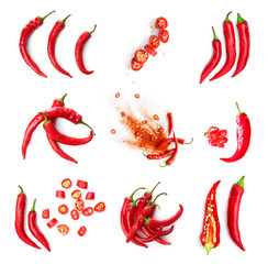 Set with hot chili peppers isolated on white