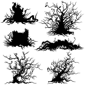 Shrub & stub silhouettes set/ Illustration decorative dry shrub, stump, snag silhouettes