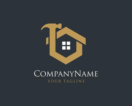 Elegant Gold House Logo Design, Construction Logo Design Vector Template