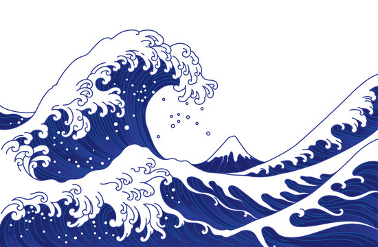 Japan great wave vector illustration.
