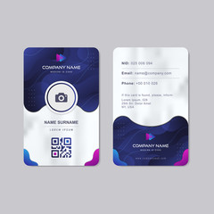 Modern Identity Card With Gradient Blue Navy Abstract Liquid