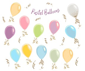 Colorful pastel color balloons isolated on white, celebrate party banner with helium balloons, festive happy birthday and anniversary template or invitation, Decorative elements for poster balloons fo
