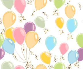 Lovely hand drawn pastel balls vector pattern. Happy pastel color balloons, colorful pastel color balloons isolated on white, celebrate festive banner with helium balloons, festive happy birthday and