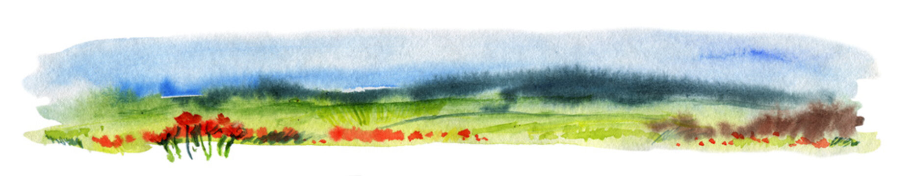 Hand Drawn Traditional Watercolor European Panoramic Landscape