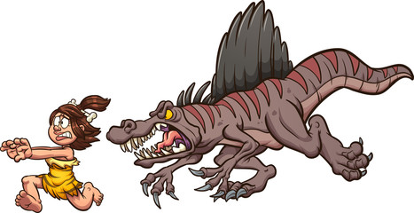 Angry cartoon spinosaurus dinosaur chasing a cave woman clip art. Vector illustration with simple gradients. Each on a separate layer.