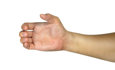 hand holding something isolated on white background with clipping path