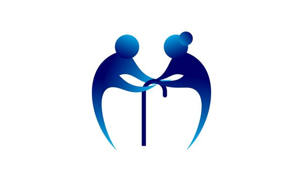 Happy retirement for elderly people nursing home. Love symbol elderly home care logo