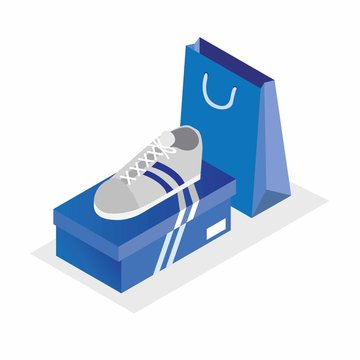 white sport shoes with blue box and shopping bag isometric illustration editable vector