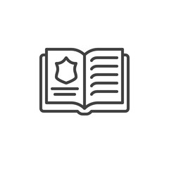 Police book line icon. linear style sign for mobile concept and web design. Law book outline vector icon. Symbol, logo illustration. Vector graphics