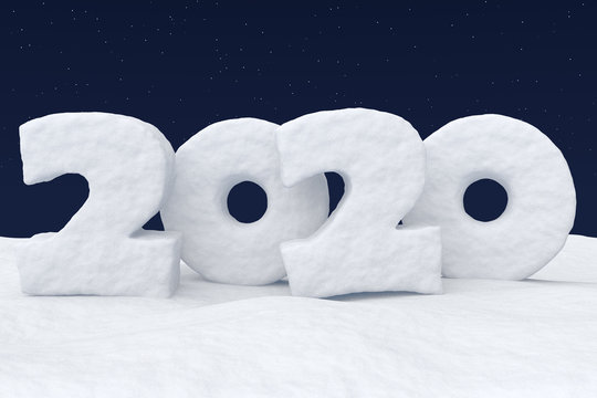 2020 Happy New Year snow text under night sky with stars