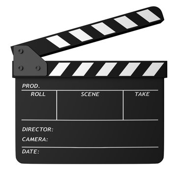 Open black clapper board isolated on white