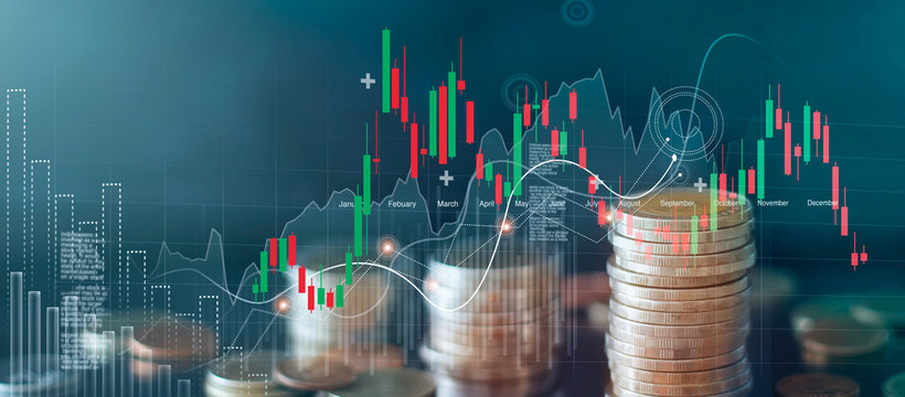 Graph and rows of coins for finance and business, stock market chart growth, abstract and symbol, business investment and currency exchange, on blue background.