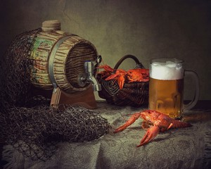 Still life with beer and crayfish
