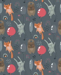 Vector seamless pattern with wild forest animals fliyng on balloons.