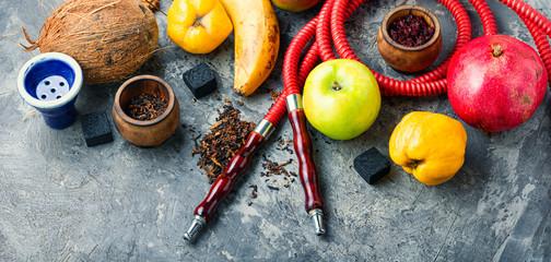 Tobacco shisha on fruit