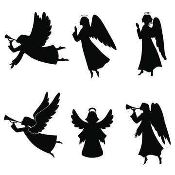 set of silhouettes of angels