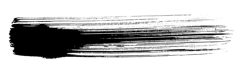 Abstract black brush stripe. Black and white engraved ink art. Isolated brush design illustration element.