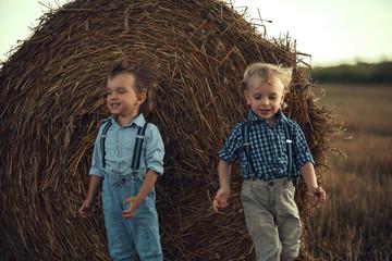 Fond de hotte en verre imprimé Artiste KB Two adorable brothers having fun in the countryside