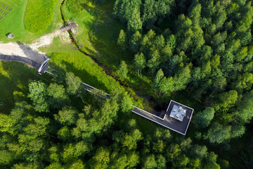 Aerial view from the Volga River Source. Village Volgoverkhovye, Tver region, Russia.