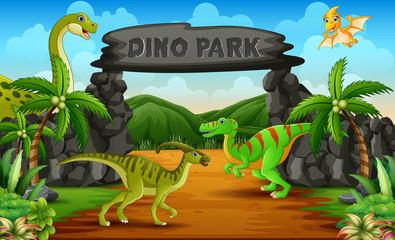 Dinosaurs in a dino park entrance illustration
