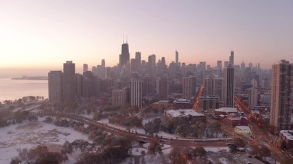 Fototapete - Chicago downtown aerial drone skyline fall foliage morning sunrise lincoln park pond dawn buildings