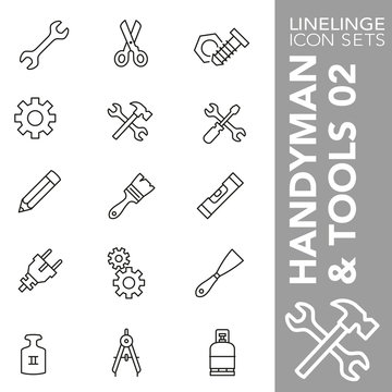 Thin line Icon set of Handyman and Tools 02. Linelinge are the best pictogram pack unique design for all dimensions and devices. Vector graphic, symbol, logo and website content.