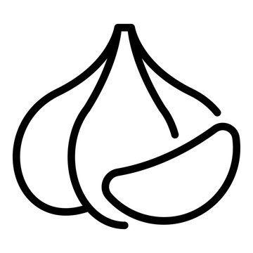 Raw garlic icon. Outline raw garlic vector icon for web design isolated on white background