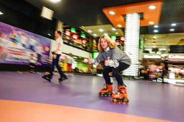 Kiev, Ukraine a 50 year old woman goes rollerblading.