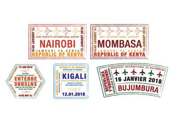 Set of stylised passport stamps for major airports of Kenya, Uganda, Rwanda and Burundi  in vector format.
