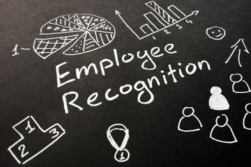 Employee recognition inscription on the black sheet.