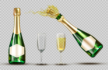 Champagne explosion bottle and wineglasses set. Closed and open bubbly flasks with glasses, sparkling wine drink mock up isolated on transparent background. Realistic 3d vector illustration, clip art