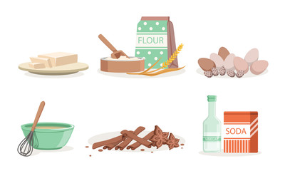 Kitchen Tools And Utensils, Ingredients For Homemade Bakery Vector Illustration Set Isolated On White Background