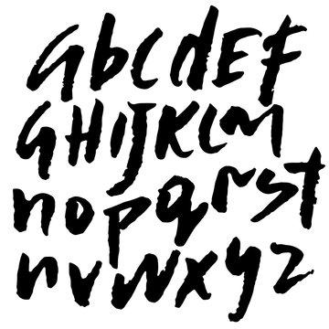 Hand drawn elegant calligraphy font. Modern brush lettering. Grunge style lower case alphabet. Vector illustration.