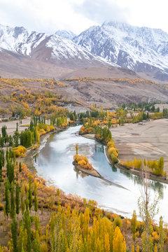 Phandar valley during autumn season in the northern area of the Pakistan