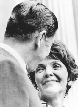 California Gov. Ronald and Nancy Reagan exchange an affectionate look during a Republican Fund raising dinner