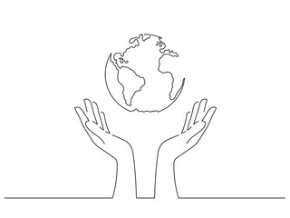 Save the world concept isolated line drawing, vector illustration design. Climate change collection.